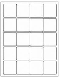 12 SHEETS 240 2x2 INCH SQUARE WHITE STICKERS FOR INKJET