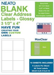 Clear Transparent Address and Craft Labels - Rectangle Stick