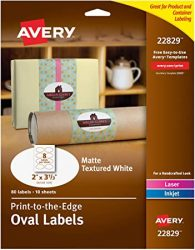 Avery Oval Labels with Sure Feed for Laser and Inkjet Printers