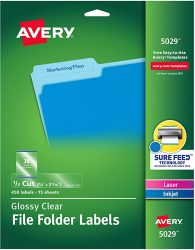 Avery 5029 Clear Self-Adhesive Filing Labels 3-7-16 x 2-3
